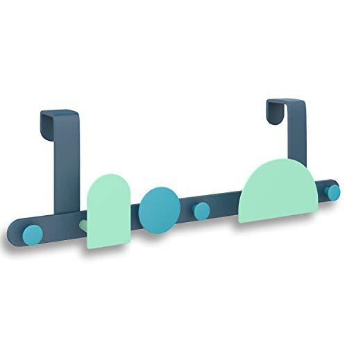 DISDIM Over The Door Hanger HooksMetal Heavy-Duty Hanger Rack for Scarf Belt Hat Jewelry Robe 8 Hooks Blue Green