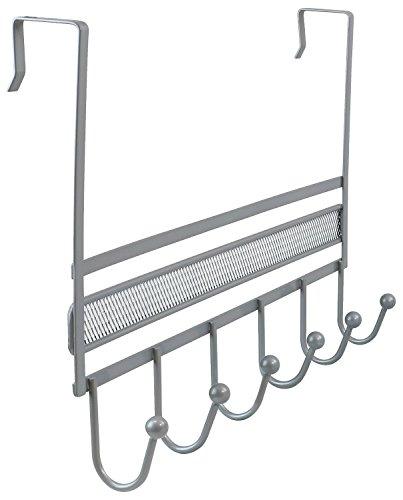 DecoBros Over The Door 6 Hook Organizer Rack - Silver