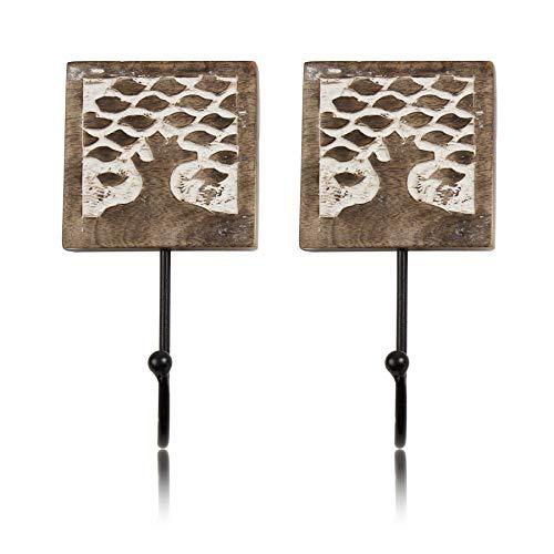 Set of 2 Decorative Wooden Cast Iron Vintage Rustic Coat Hanger Wall Mounted Jacket Robe Towel Door Hook Rack Holder Rail for Hallway Living Room Entryway Bathroom Bedroom Home Decor Accents