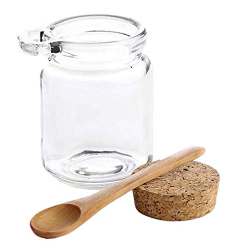 8oz 250ML Reusable Thick Clear Glass Storage Jar with Cork Stopper and Wooden Spoon For Keeps Food Dry Fresh for Home Kitchen Bathroom Cosmetics Gifts Travel