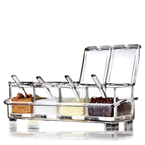 Clear Seasoning Rack Spice Pots by AIQI - 4 Piece Acrylic Seasoning Box - Storage Container Condiment Jars - Cruet with Cover and Spoon
