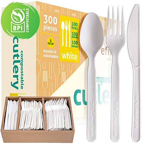 Compostable Cutlery Set - BPI Certified Compostable And Disposable - Eco Friendly Alternative to Silverware And Traditional Plastic Utensils - Pack of 300 Incl Knives Forks Spoons And Storage Tray