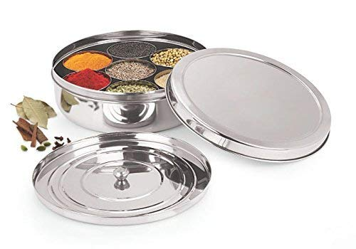 Khandekar Stainless Steel Round Spice Box Indian Masala Dabba with 7 Containers and 1 Spoon Spice Storage Organizer for Kitchen - 225 cm Silver