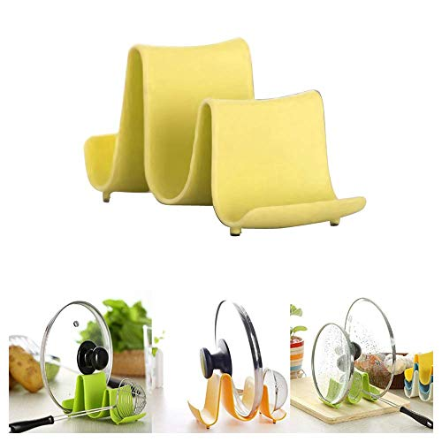 Luonita Pot Lid Holder - Pan Pot Cover Lid Rack Shelf Stand Holder Spoon Rest Stove Organizer Storage Soup Spoon Rest Multifunctional Kitchen Cookware Chopping Board Organizer Storage Rack Yellow