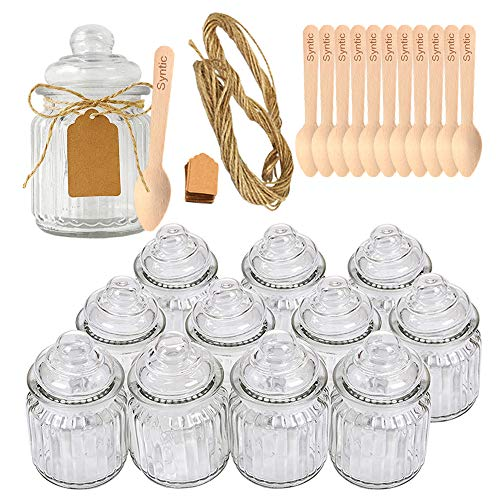 Syntic 12 Pcs 8 oz Spice JarsGlass Food Storage Jars with Airtight Seal Glass Canister Jars for Jam Herbs Spices Coffee Sugar Extra Tag Strings and 12 Disposable Wooden Dessert Spoons Included