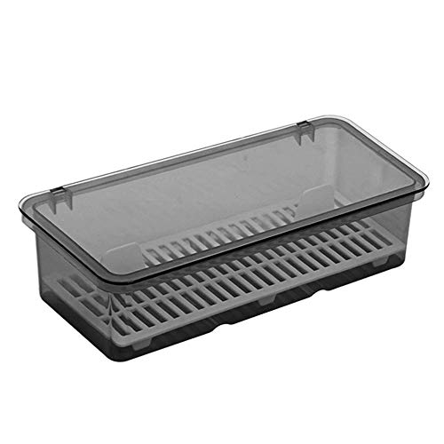 Volwco Plastic Cutlery Tray and Utensil Storage ContainerStorage Basket for Cutlery Serving Spoonswith Cover and Drainer for UtensilsUtensil Storage Container