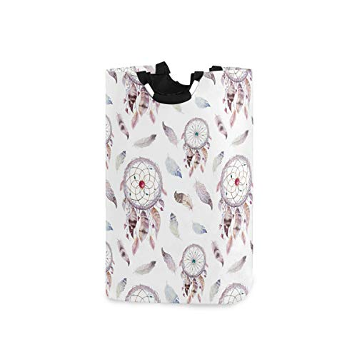 FICOO Large Laundry Hamper Dreamcatcher Feathers Tribal Laundry Basket with Handle Oxford Collapsible Organizer Basket for Nursery Bedroom