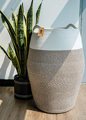 Goodpick Large Laundry Hamper  Woven Cotton Rope Clothes Hamper Tall Laundry Basket Modern Curver Bucket 256 Height