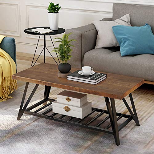 P PURLOVE Coffee Table Rustic Style Table with Wood Desktop Metal Storage Shelf for Living Room Rectangular