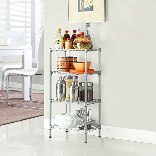 civilys Adjustable 4 Shelf Wire Shelving Unit Garage Heavy Duty Metal Storage Organizer Rack for Kitchen Garage Bedroom 4 Shelf Silver