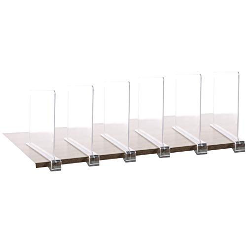 6PCS Multifunction Acrylic Shelf DividersClosets Shelf and Closet Separator for Wood ClosetOnly Need to Slide to Adjust The Appropriate Distance