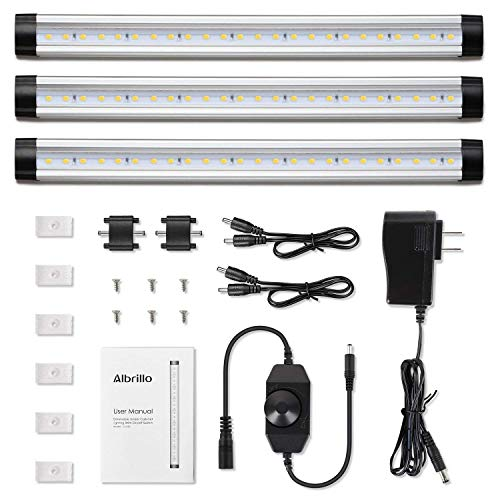 Albrillo LED Under Cabinet Lights 900lm Dimmable LED Under Counter Lighting Kit for Kitchen Cupboard Shelf Closet Daylight White 4000K 3 PCS