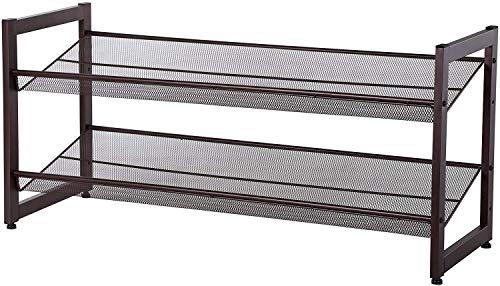 SONGMICS 2-Tier Stackable Metal Shoe Rack Flat Slant Adjustable Shoe Organizer Shelf for Closet Bedroom Entryway Bronze ULMR02A