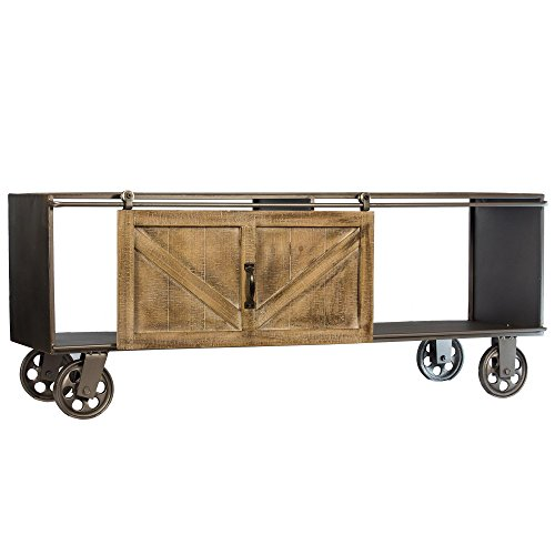 American Art Décor Metal Storage Cabinet Table with Rustic Wood Sliding Barn Door - Vintage Country Farmhouse Décor