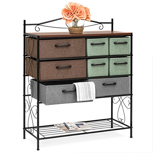 Best Choice Products 8-Drawer Wood and Metal Storage Cabinet Chest wPolyester Drawers Multicolor