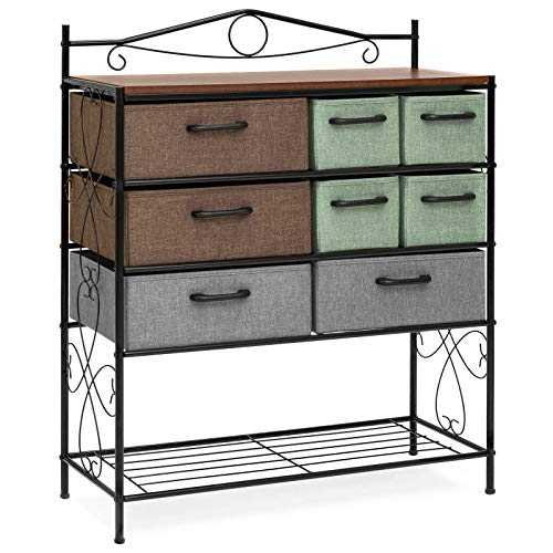 Boomer888 Charming Multicolored 8 Drawers Wood Metal Storage Cabinet Dresser Chest Cabinet Living Room Vintage Home Office Furniture