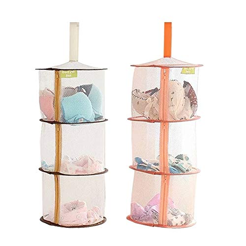 Hanging Mesh Space Saver Bags with Zipper 3 Compartment Hanging Basket for Stuffed Animal Toys Storage Kids Room Organizer 2packs OrangeBrown