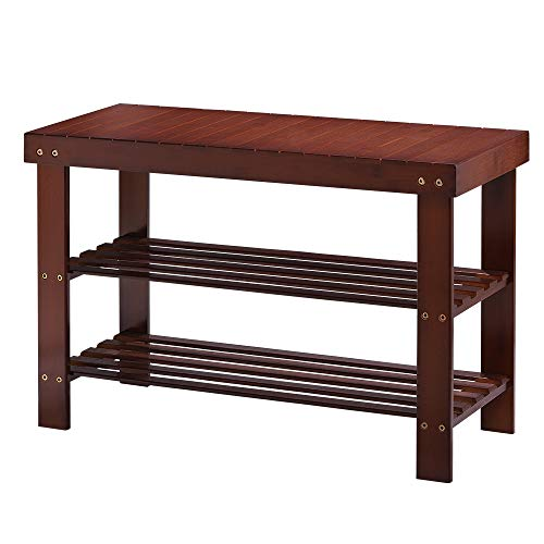 LIANTRAL Rack Bench 2 Tiers Bamboo Shoe Entryway Seat Storage Bathroom Living Room Organizer Shelf Brown