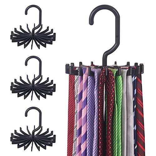 DIOMMELL 4 Pack Tie Rack Hanger Holder Hooks Organizer for Mens 360 Degree Rotating Tie Racks Black