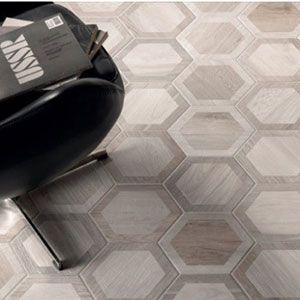 parket tegels met patroon in hexagoon