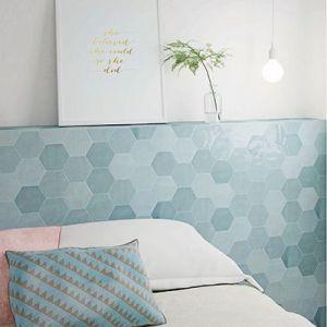 Licht blauwe honinggraat tegels in de badkamer.