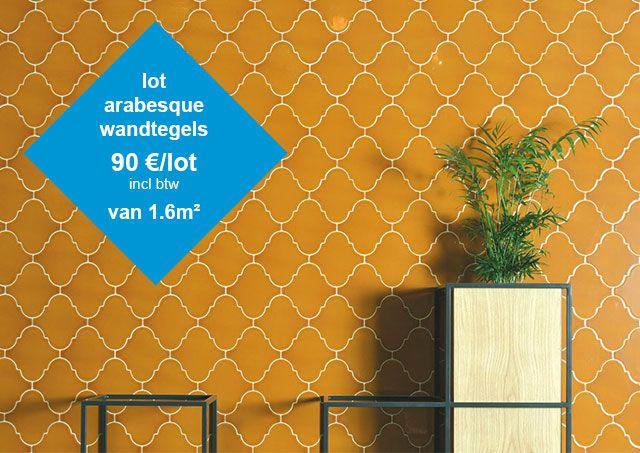 tegeloutlet top tegel 04: Lot arabesque tegels oker in de tegel outlet van Top Tegel 04 in West Vlaanderen. Tussen Ieper en kortrijk.