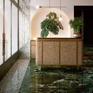 Je kan deze groene renovatietegel ook als vloertegel plaatsen.
