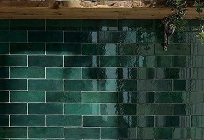 Keramiche wantegel artisan moss green glossy in formaat in formaat 6.5x20cm