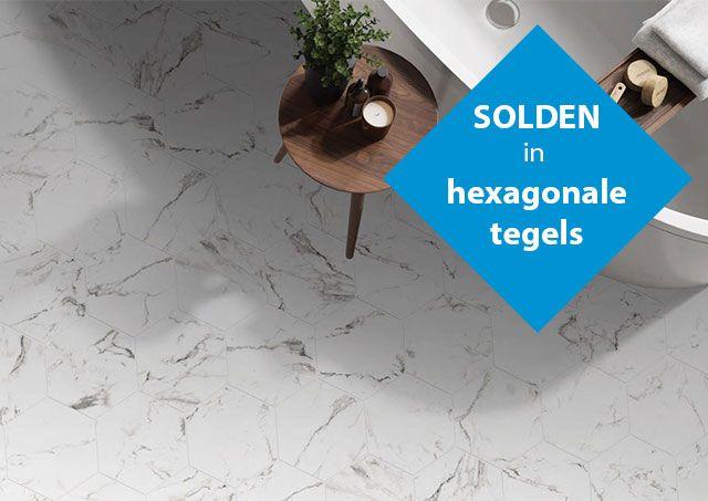 Solden in hexagonale tegels bij Top Tegel 04 in Geluveld, west vlaanderen