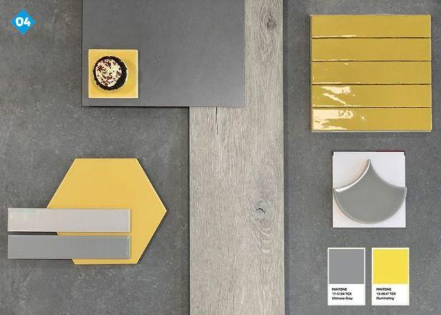 Moodboard met tegels in de pantone kleuren 2021 in geel en grijs.