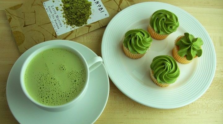 japanese green tea and match cupcakes