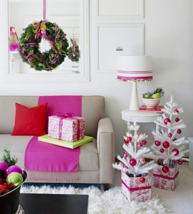 Christmas-tree-decorations-white-small-trees-living-room