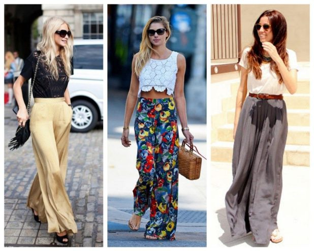 Wide leg printed trousers 1