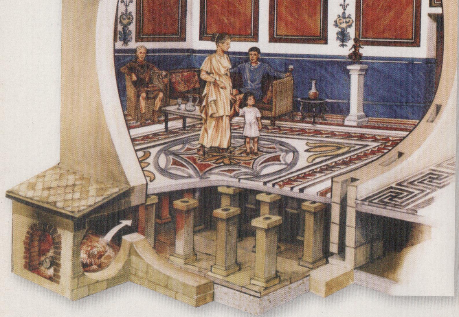 roman baths diagram cytokinesis labeled a hypocaust shows how the romans