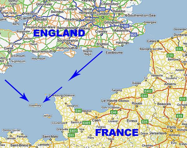Guernsey England Map.Guernsey Island Map Of Northern France Exploring Mars