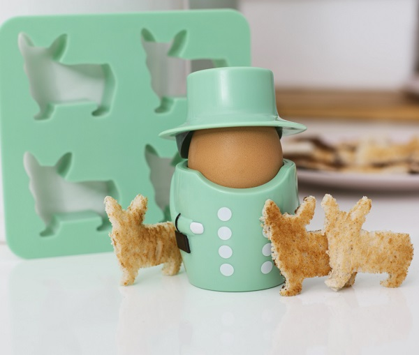 Queen and Her Corgis Egg Cup and Toast Cutter Set