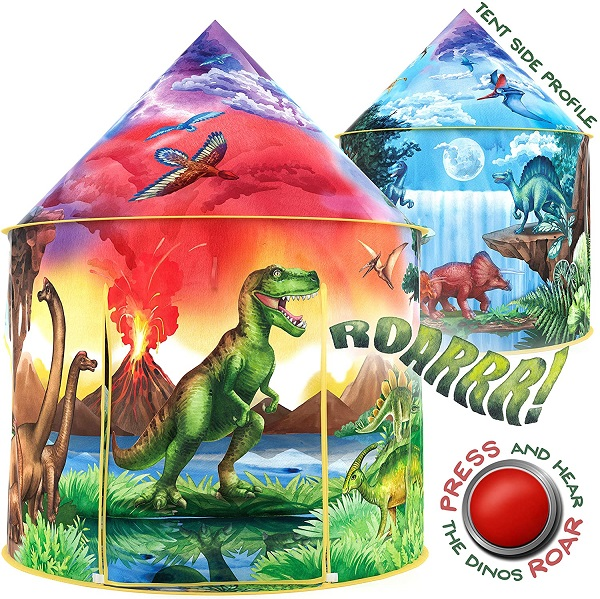 W&O Dinosaur Discovery Kids Tent with Roar Button