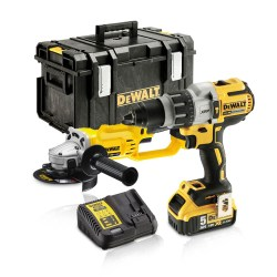 Toptopdeal-DeWalt DCK278P2 18V XR DCD996 Combi Drill & DCG412 Angle Grinder Twin Kit With 2 X 5 0Ah Batteries & Charger In Toughsystem Kit Box