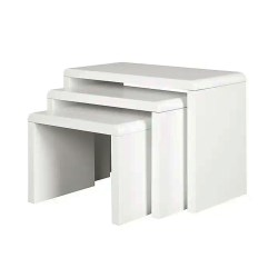 GOLDFAN Nest of 3 Coffee Tables Modern White Gloss Nesting Tables Multi-functional Small Wood Side Tables for Living Room, White & Grey [Energy Class A++]
