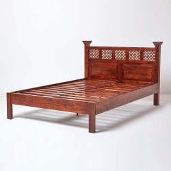 HOMESCAPES Takhat Dark Wood Double Bed Frame, 100% Solid Sheesham Hard Wood