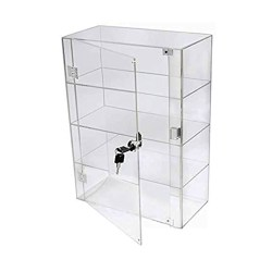 PC3721 1 High Gloss Clear Acrylic 3 Shelf Display Case with Front Door & Security Lock DB089B-08IN