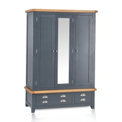The Furniture Outlet Hampshire Blue Painted Oak 3 Door 2 Drawer Wardrobe