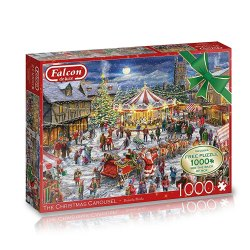 Toptopdeal-Jumbo-11308-Falcon-The-Christmas-Carousel-2-x-1000-Free-1000-Piece-Puzzle