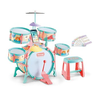 Toptopdeal-MAJOZ0-Kids-Jazz-Drum-Kit,-Rock-Band-Drum-Kit-with-Microphone,-Musical-Instrument-Play-Set-Musical-Toy-With-Stool