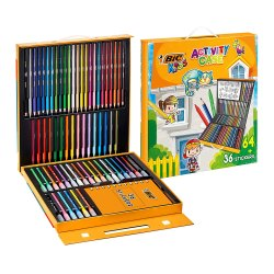 Toptopdeal-BIC-Kids-Stationery-Activity-Set-and-Carrying-Case---64-Colouring-Items-(Colouring-Pencils,-Felt-Pens-and-Crayons)-with-36-Stickers---Assorted-Colours