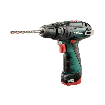 toptopdeal-Metabo 600080500 10 8 V Powermaxx BS Drill Driver with 2 x 2 A Batteries - Green Black