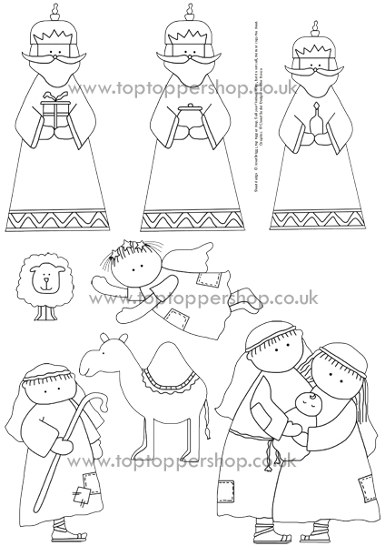 CHRISTMAS NATIVITY AWAY IN A MANGER DIGI STAMPS PRINTED SHEET