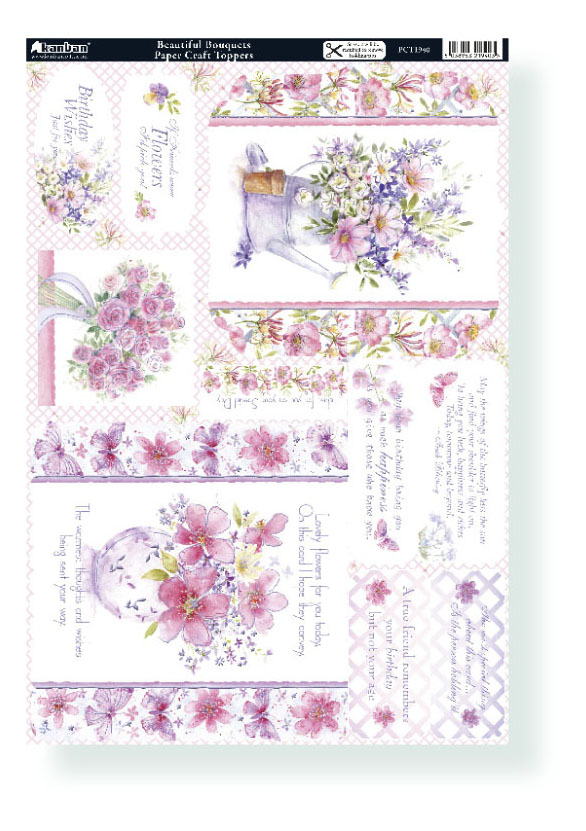 FLORAL BEAUTIFUL BOUQUETS KANBAN CARD TOPPERS 1940