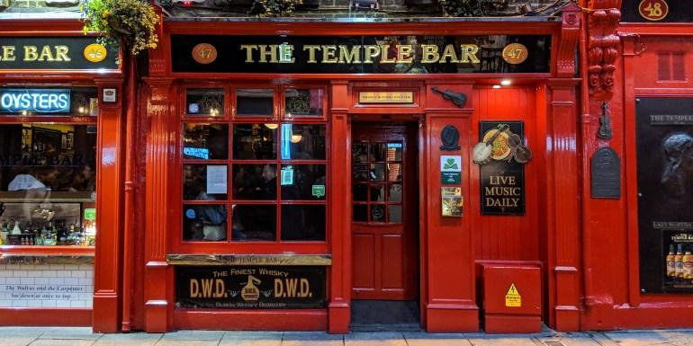 Outside of Temple Bar in Dublin