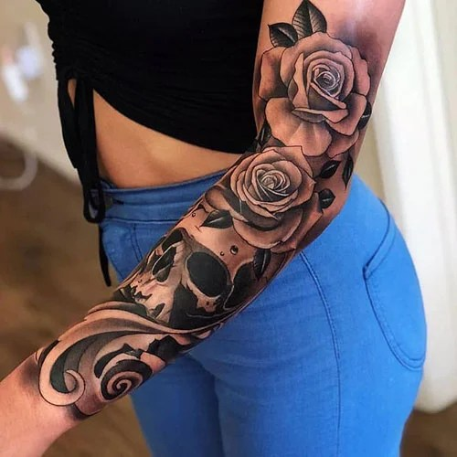 Cool Black and White Flower Tattoos